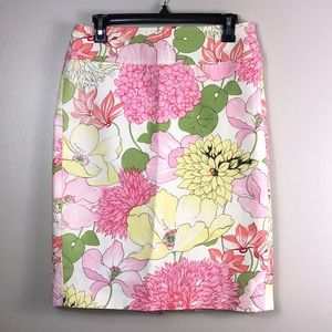Burberry pink cream floral pencil skirt size 6